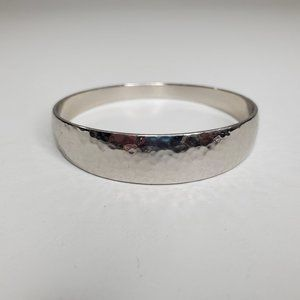 Chicos Bangle Textured Silver Tone Shiny Hammered